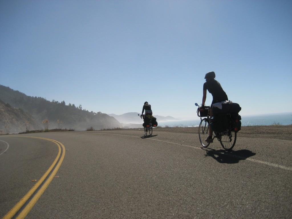 Biking along the Pacific Ocean, California