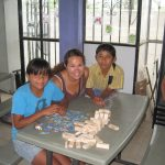 Playing games with the children