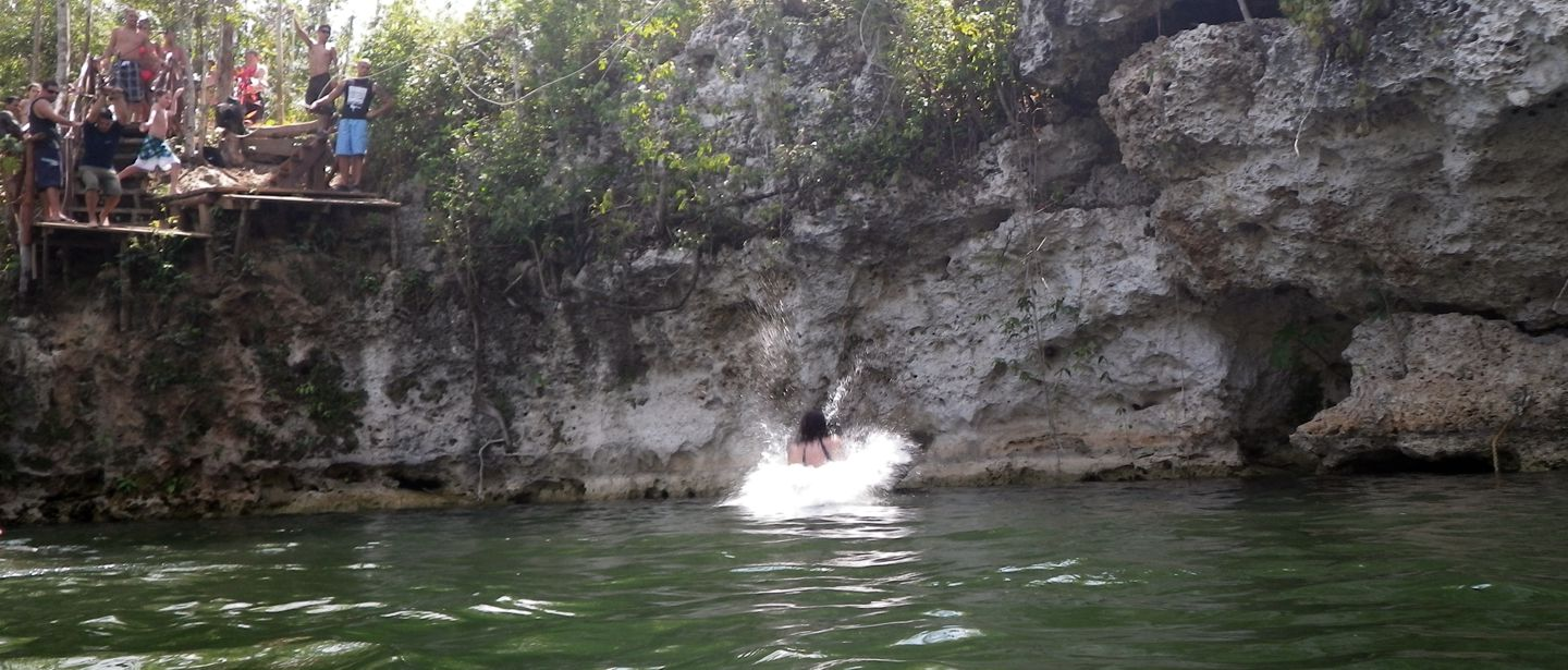 Splashdown in a cenote