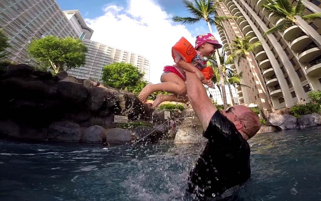 Playing in the Pool at Hilton Hawaiian Village, Oahu