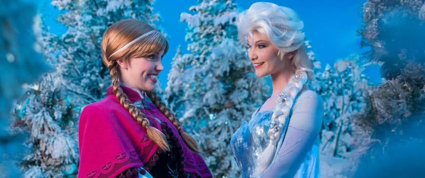 Elsa and Anna at Disneyland's Frozen Fun