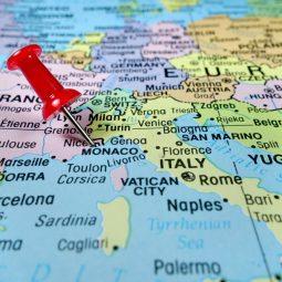 Pushpin,Marking,On,Monaco,Map